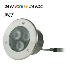 Waterproof LED Underground Light 24VDC RGBW 24W