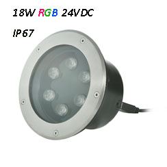 Waterproof LED Underground Light 24VDC RGB 18W